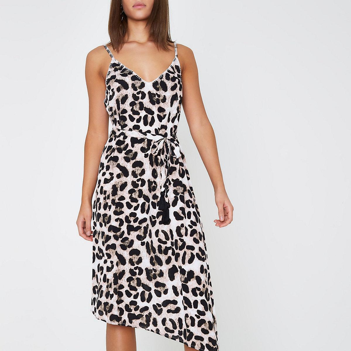 ba81000631c4 Brown leopard print midi slip beach dress - Kaftans & Beach Cover ...