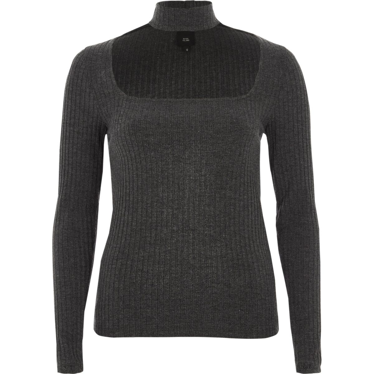 Dark grey rib long sleeve choker neck top