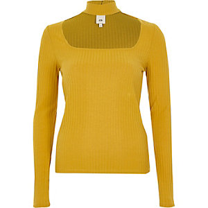 Mustard yellow rib long sleeve choker top