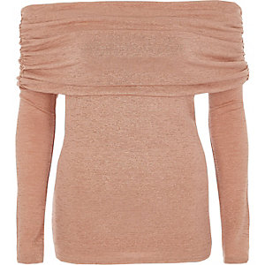 Light pink foldover bardot knitted top