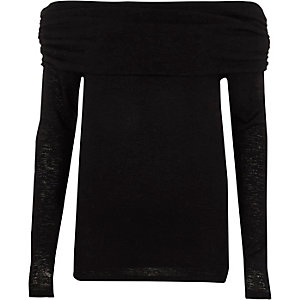 Black ruched folded bardot neck sweater