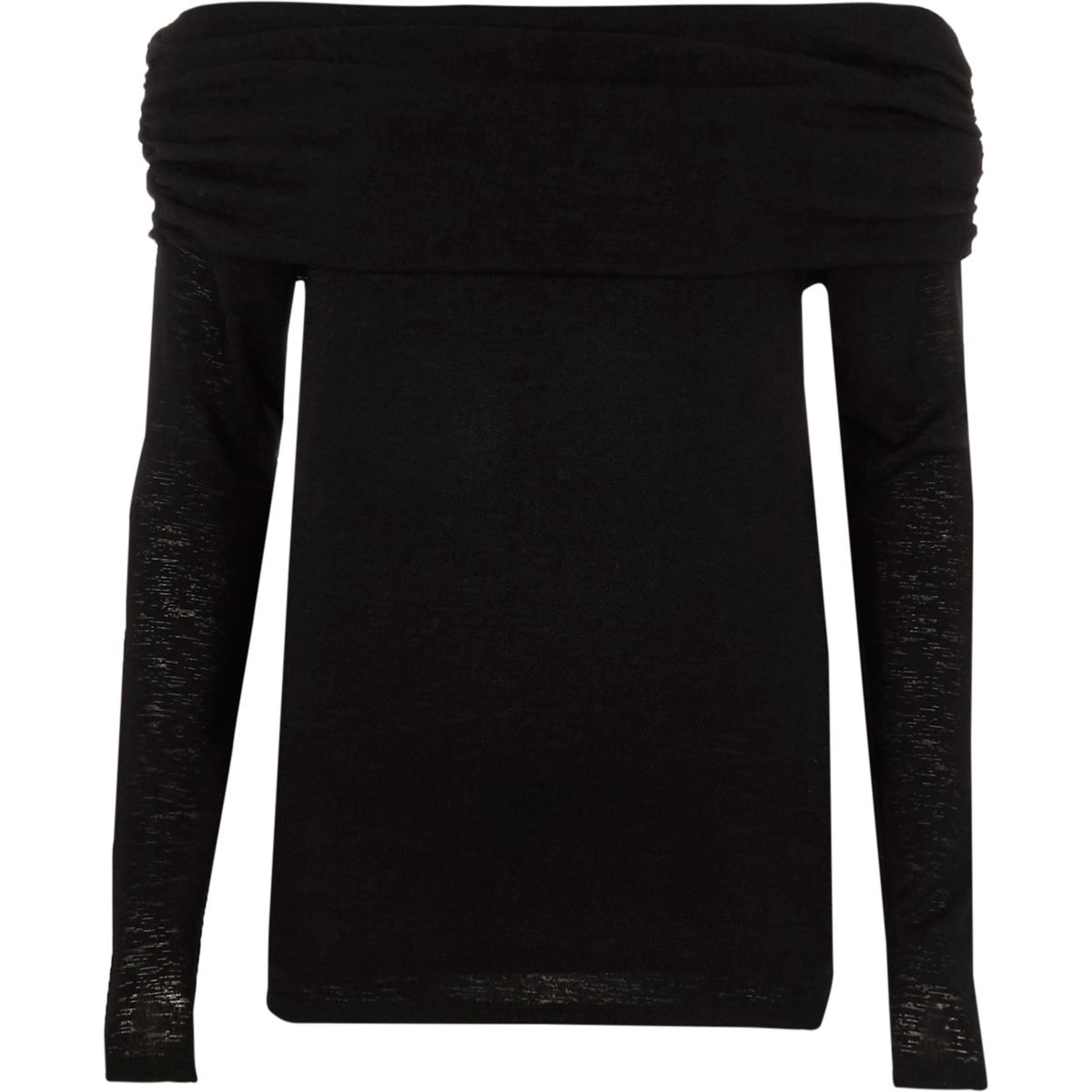 Black ruched folded bardot neck jumper