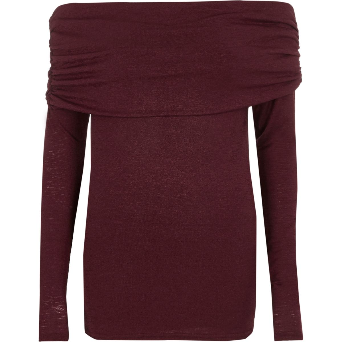 Dark red foldover bardot knitted top