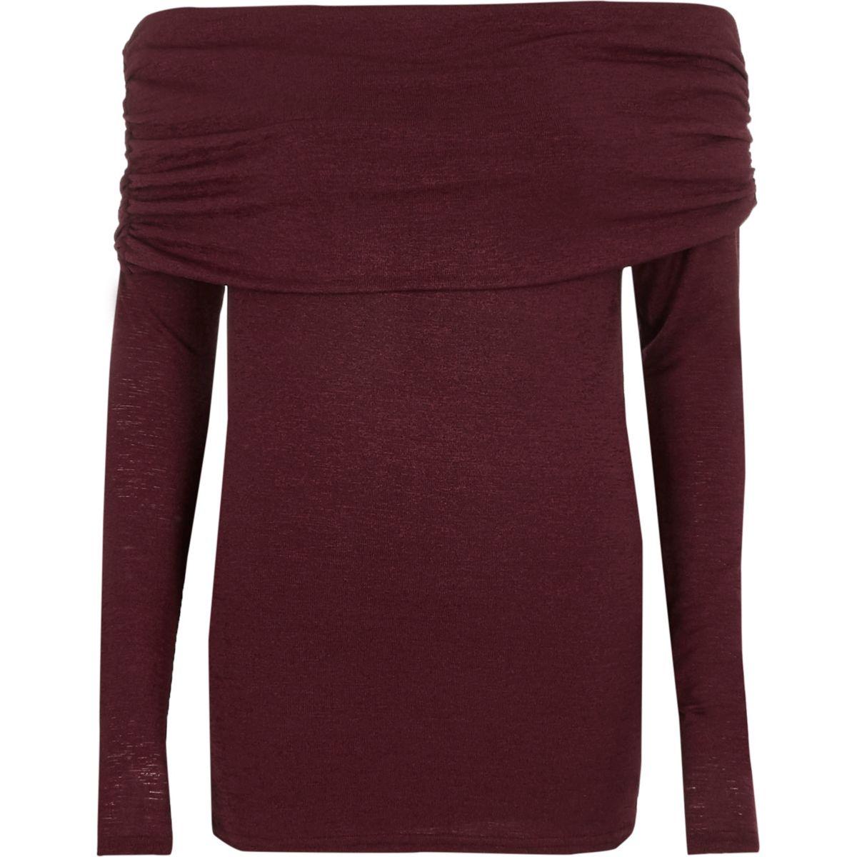 Dark red foldover bardot knitted top