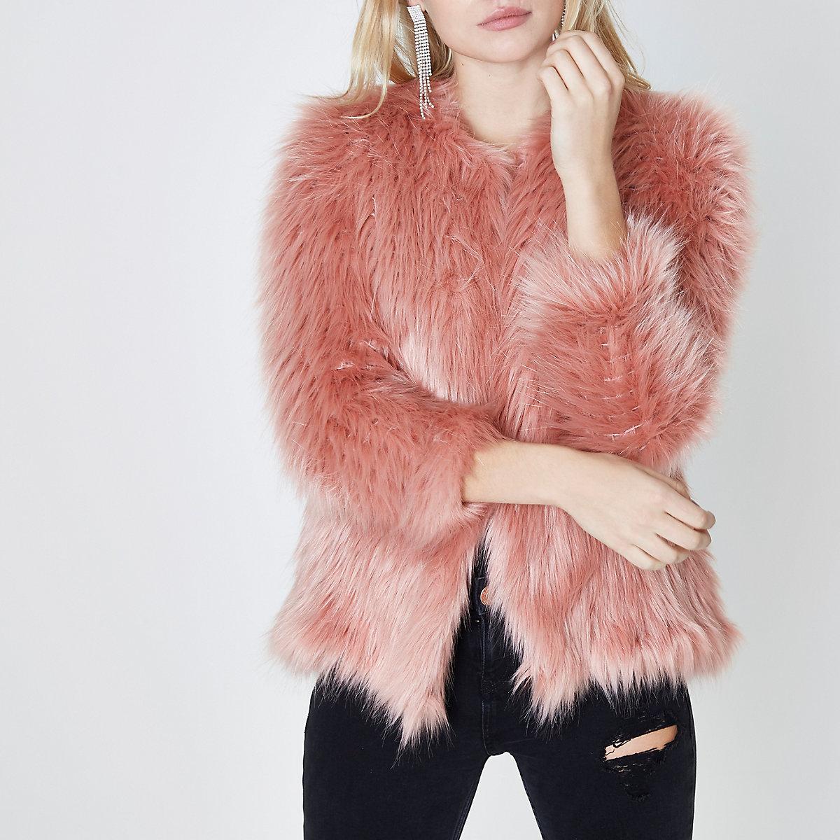 Petite pink faux fur knit coat