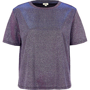 T-Shirt in Lila-Metallic
