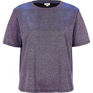 T-shirt violet métallisé à paillettes