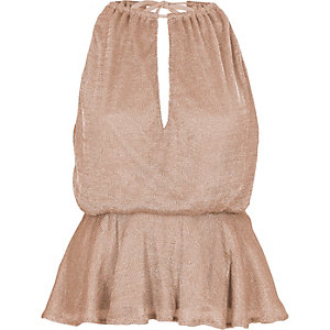 Pink sleeveless frill hem chainmail top