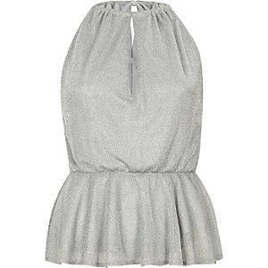 Silver sleeveless frill hem chainmail top