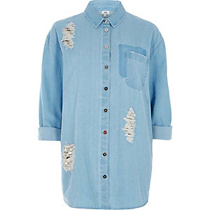 Blue sequin embellished rip denim shirt