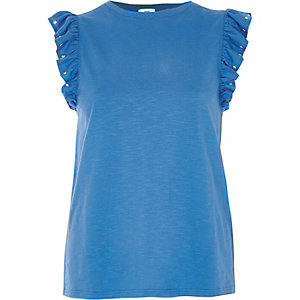 Blue frill stud sleeve tank top