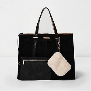 Black long handle faux fur pouch tote bag