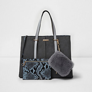Grey large tote bag and snakeskin pouchette