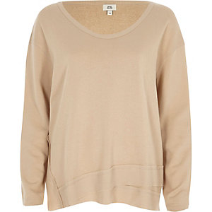 Beige scoop neck slouch sweatshirt