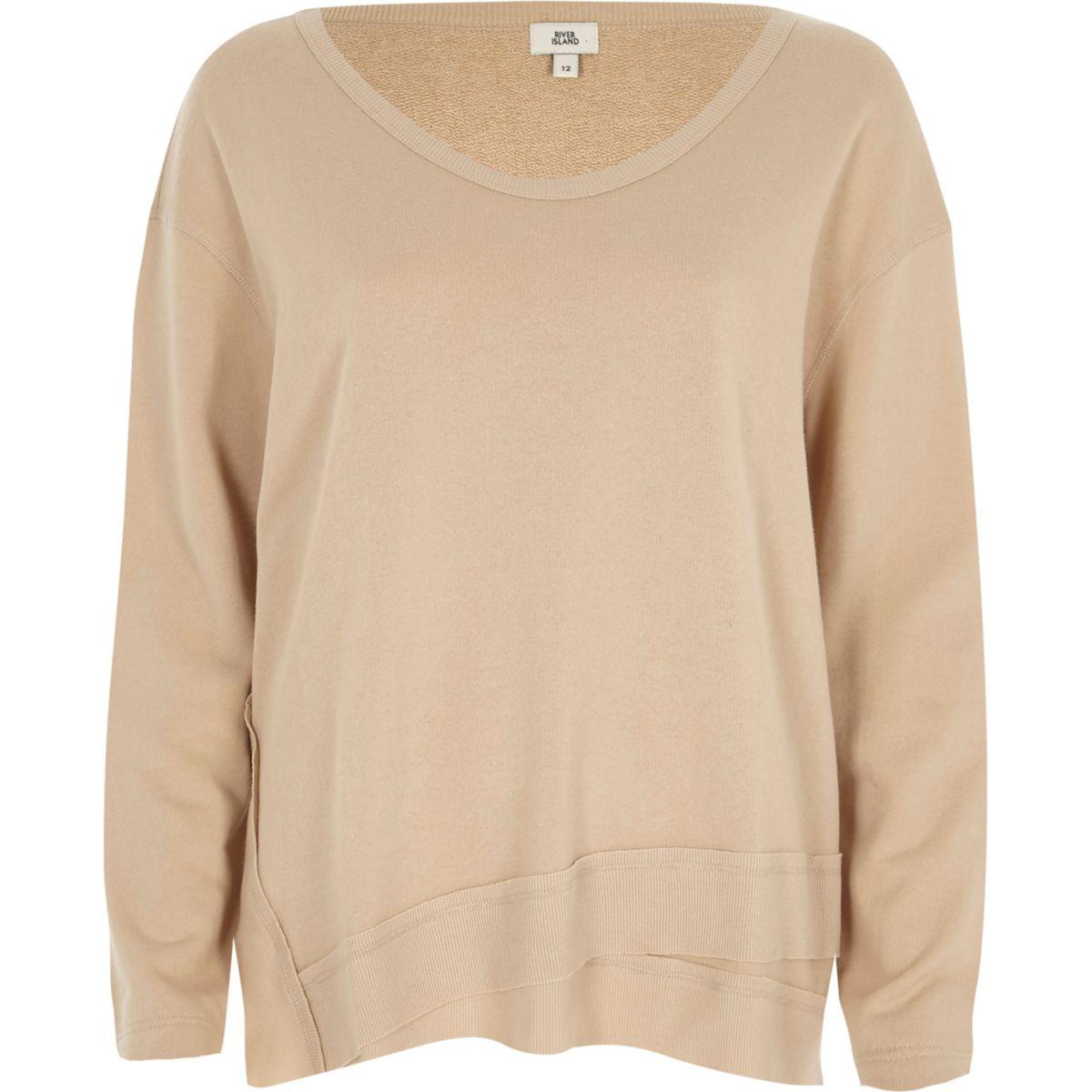 Beige scoop neck slouch sweatshirt