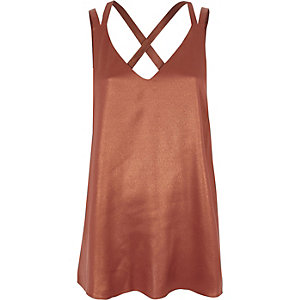 Copper metallic double strap cross back vest