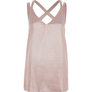 Pink metallic double strap cross back tank