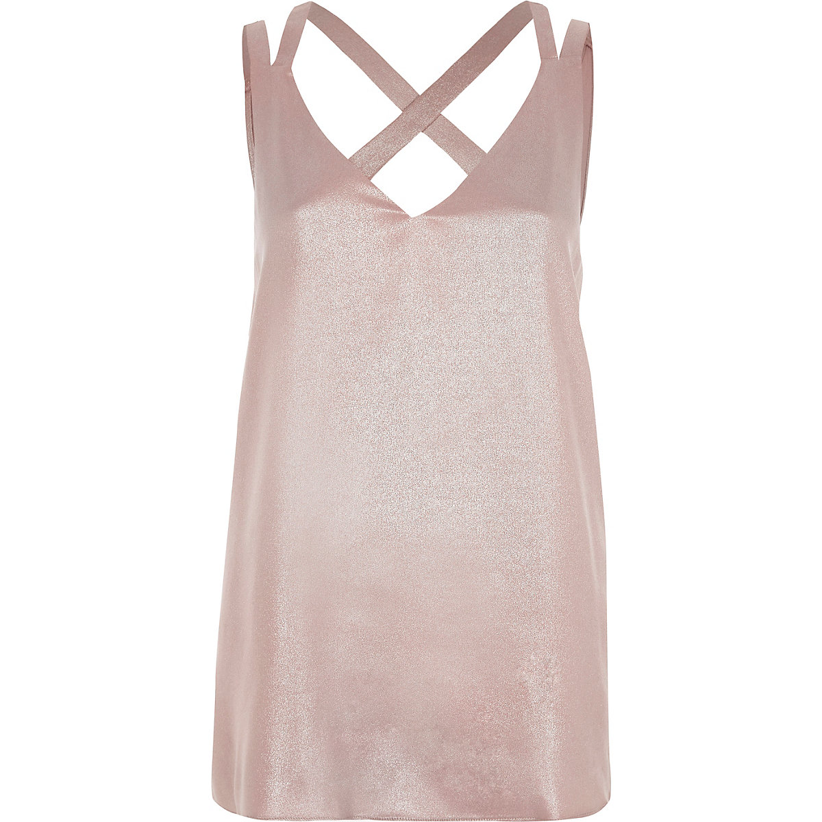 Pink metallic double strap cross back vest