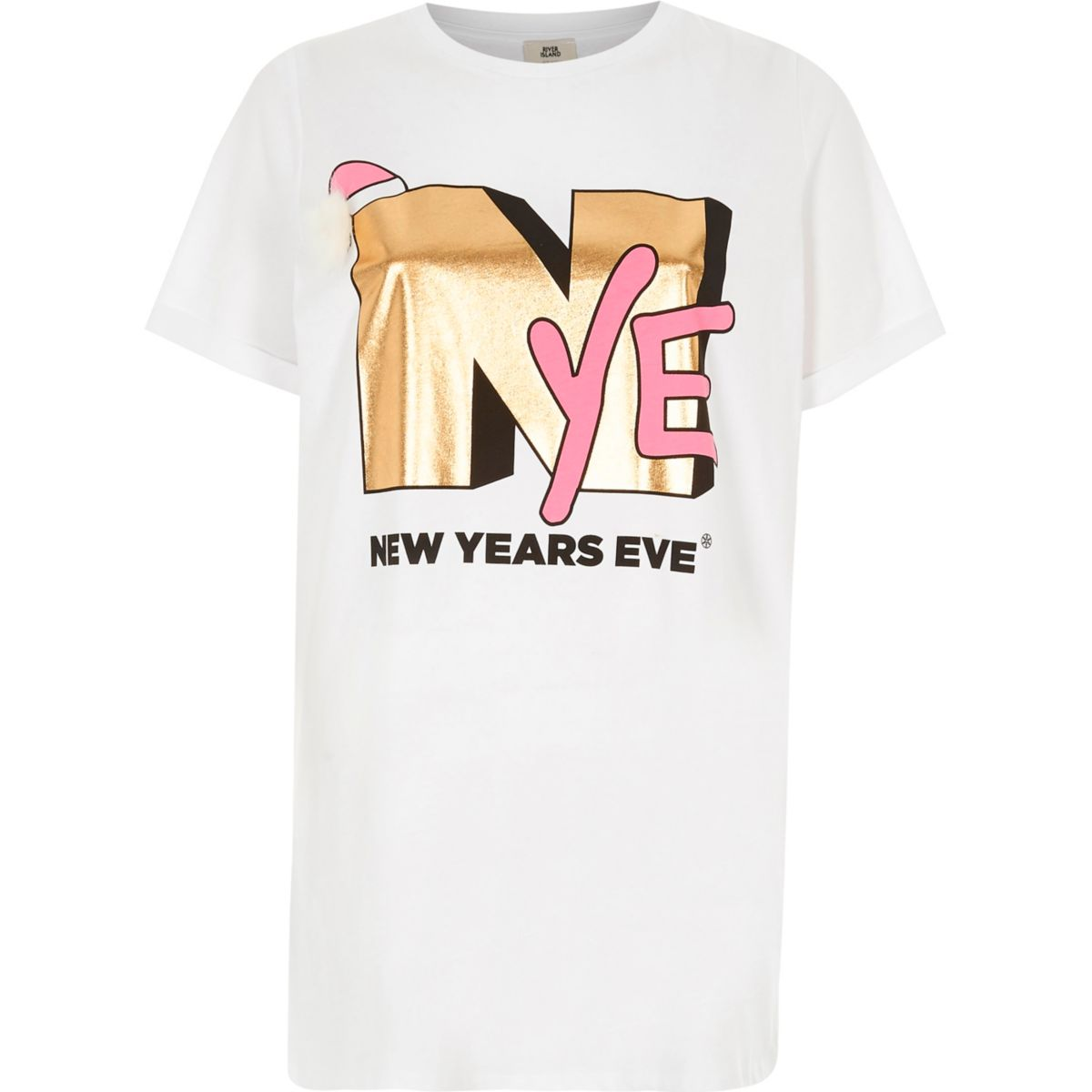 White 'NYE' boyfriend fit pom pom T-shirt