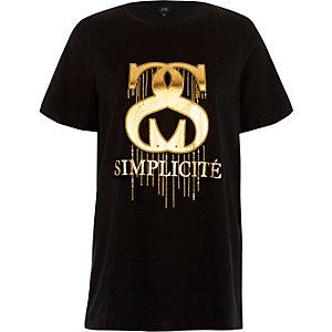 T-shirt imprimé «simplicité» effet métallisé noir