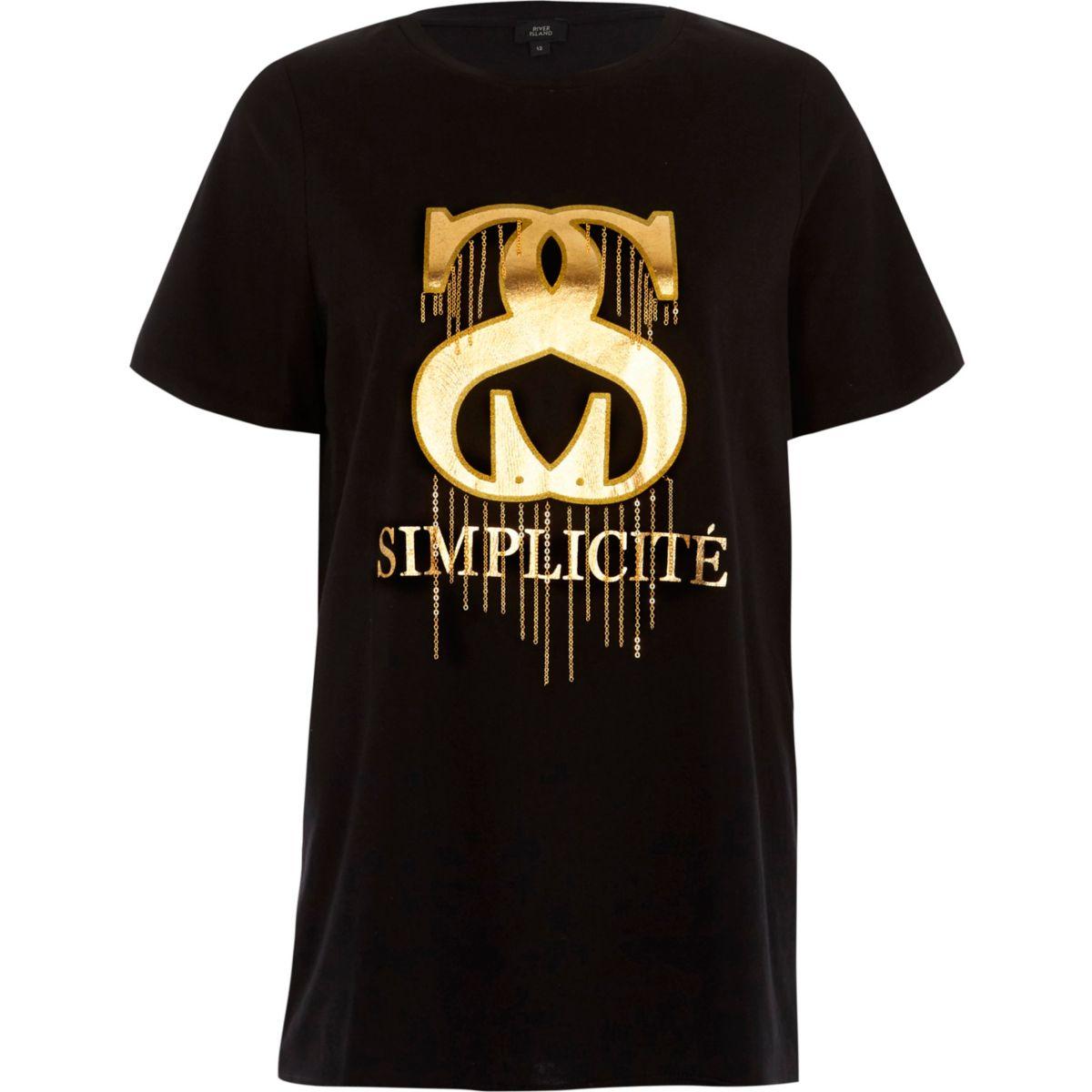Zwart T-shirt met 'simplicite'-folieprint