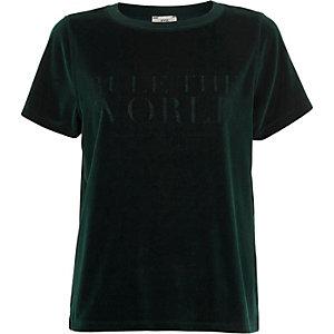 Dark green 'rule the world' velour T-shirt