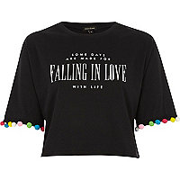 T-shirt court imprimé « falling in love » noir