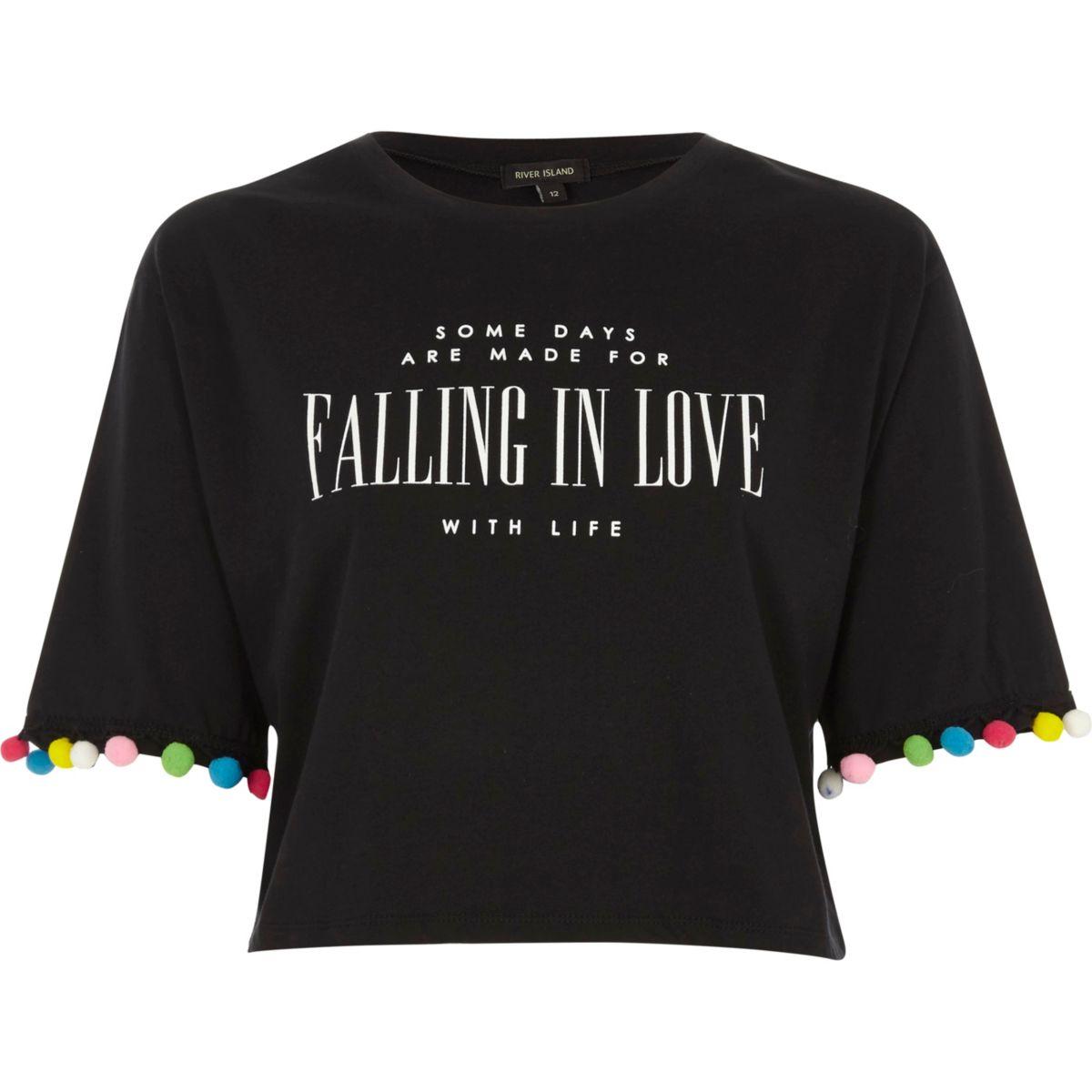 T-shirt court imprimé «falling in love» noir