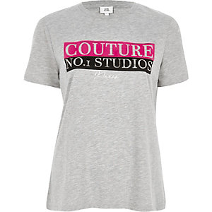 Grey 'couture' print fitted T-shirt