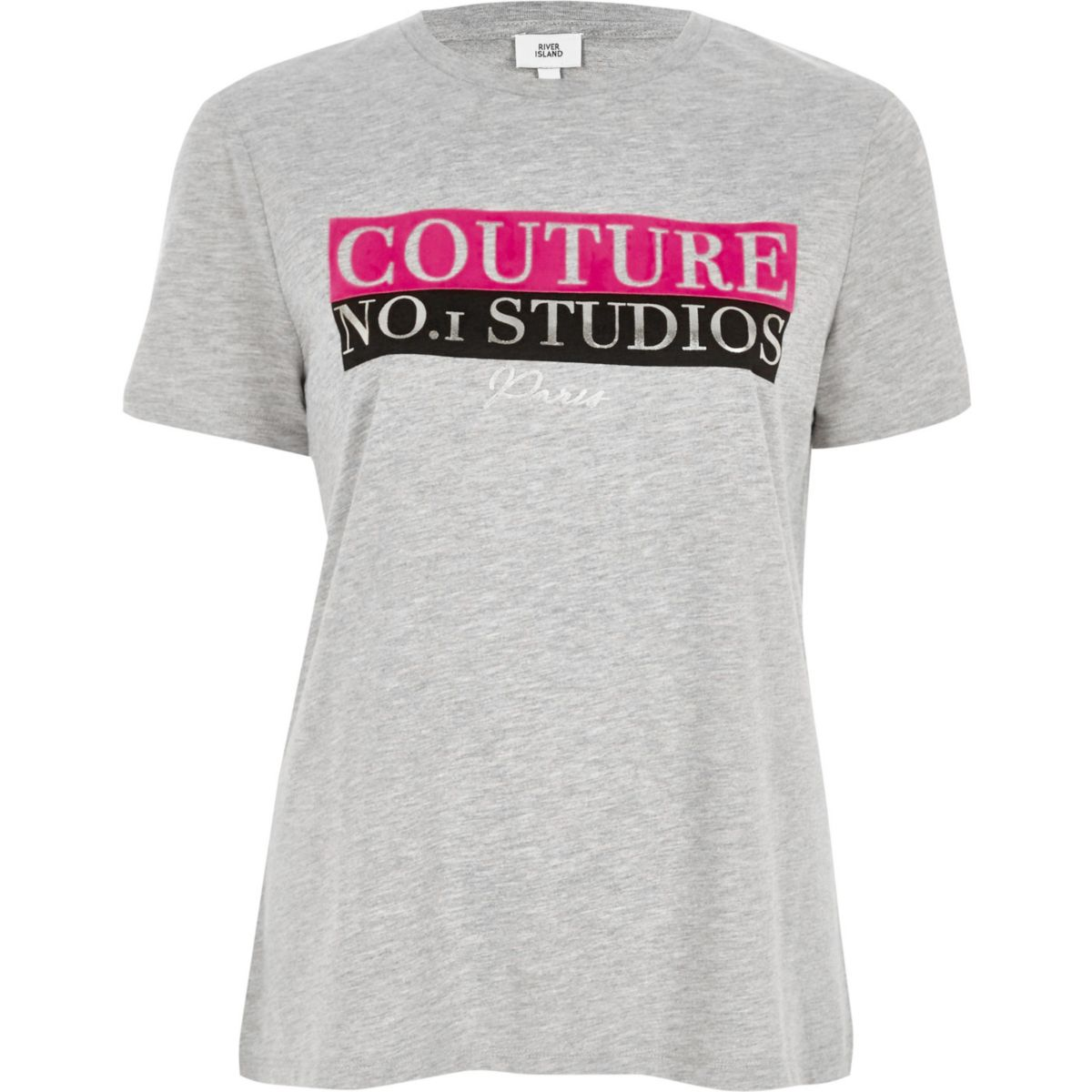 Grey 39 couture 39 print fitted t shirt t shirts vests for Fitted t shirt printing