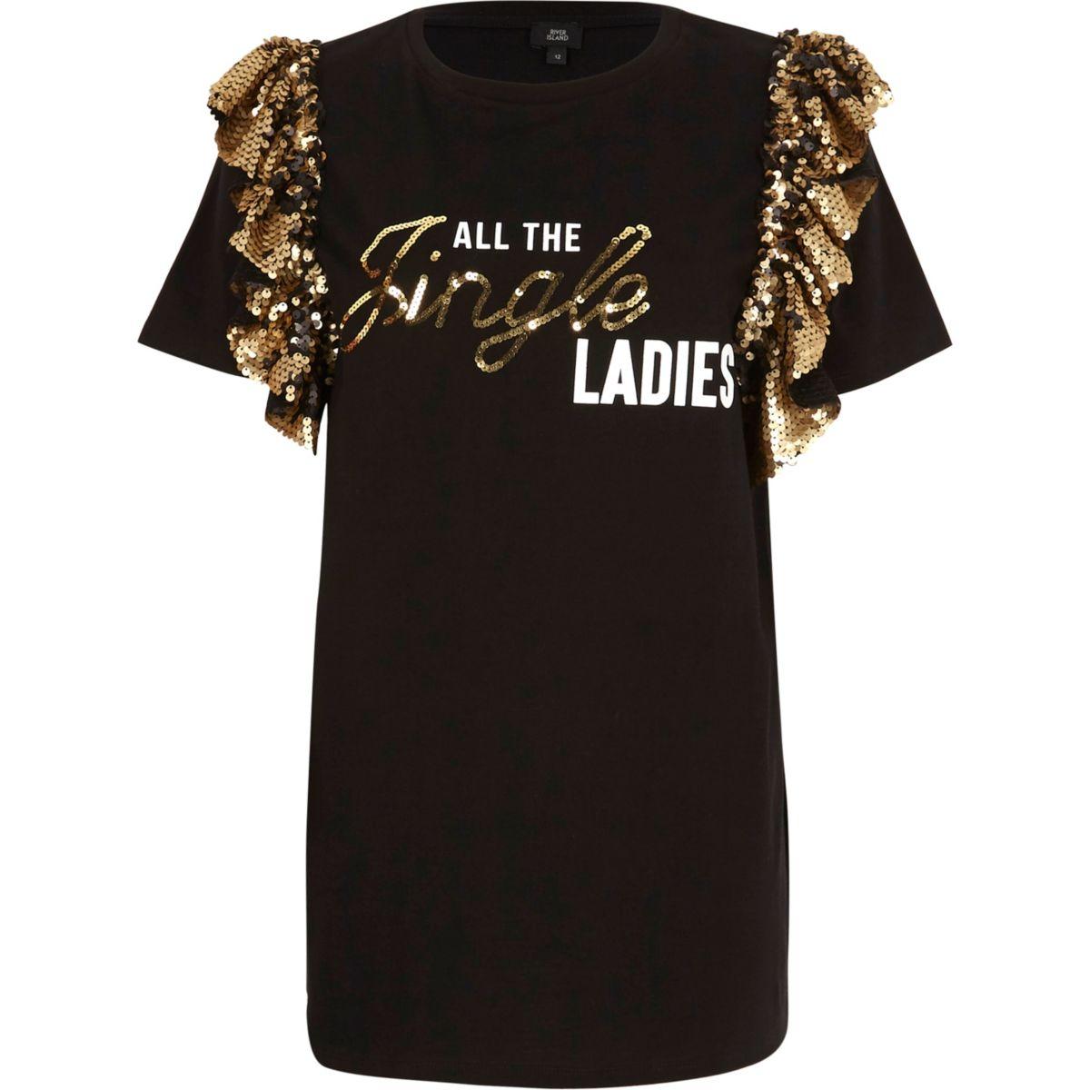 Black xmas t shirt - Black Jingle Ladies Frill Christmas T Shirt