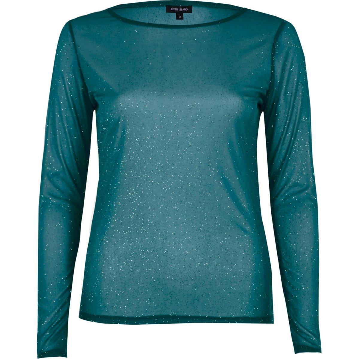 Green glitter mesh long sleeve top