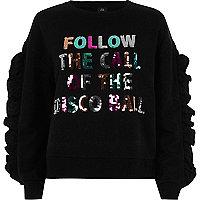 Black 'disco ball' sequin frill sweatshirt