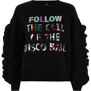 Zwart sweatshirt met 'Disco ball'-print, lovertjes en ruches