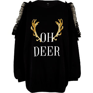 Sweat de Noël «oh deer» noir à volant
