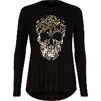 Black skull foil print long sleeve T-shirt