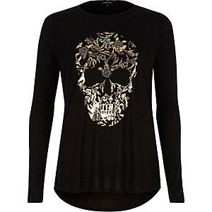 Zwart T-shirt met doodshoofd-folieprint en lange mouwen