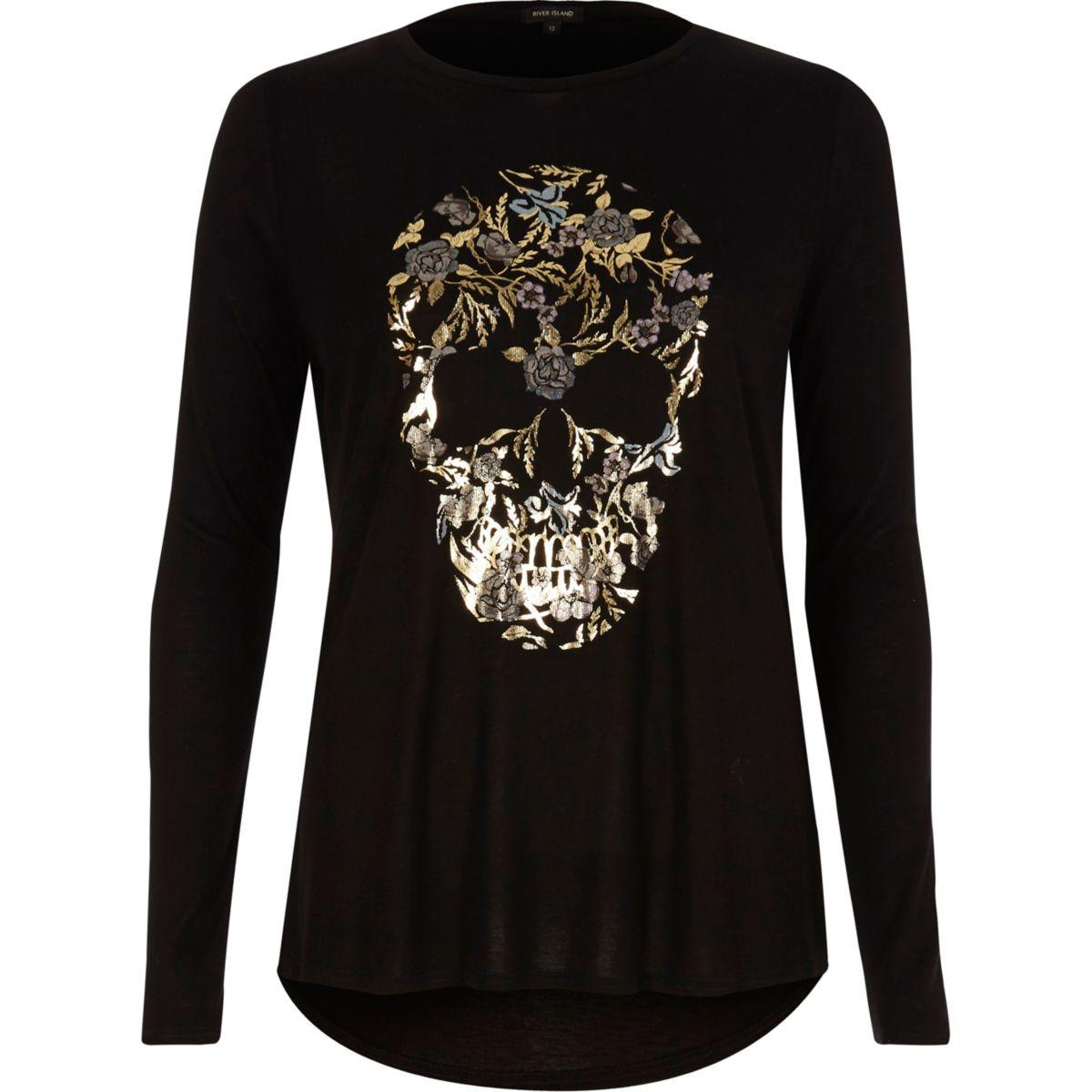 Black skull foil print long sleeve T-shirt