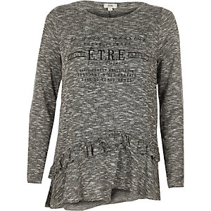 Grijs T-shirt met lange mouwen, 'etre'-print en ruches