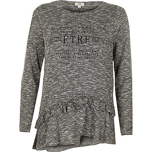 Grey 'etre' frill long sleeve T-shirt
