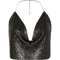 Black chainmail halter cowl neck top