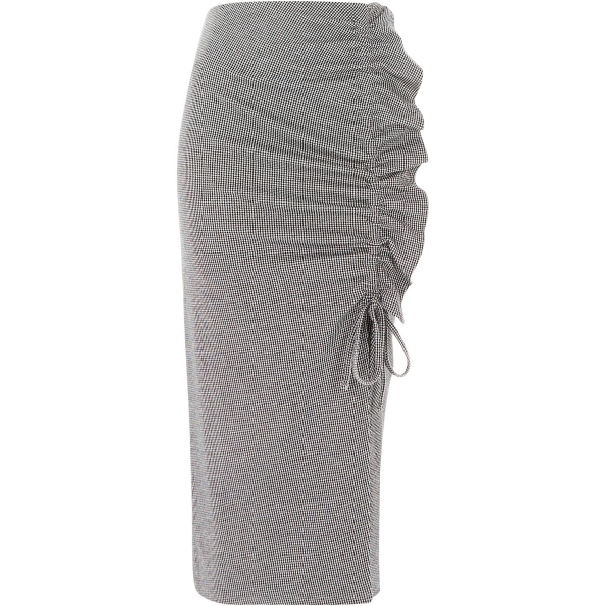 Grey check frill ruched jersey pencil skirt