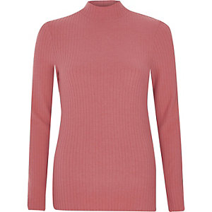 Pink brushed rib high neck fitted  top
