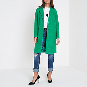 Manteau en maille bouclée vert