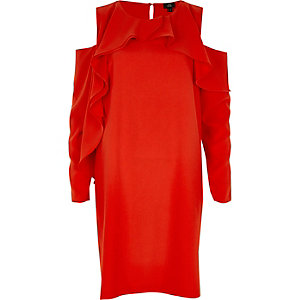 Rotes Swing-Kleid mit Schulterausschnitten