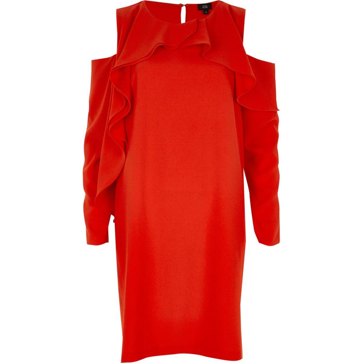 Red frill cold shoulder swing dress