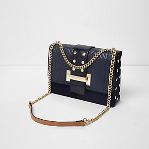 Navy studded tab underarm chain bag