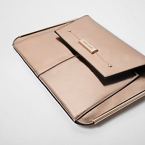 Rose gold metallic bar side clutch bag