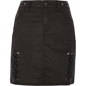 Black coated lace-up mini skirt