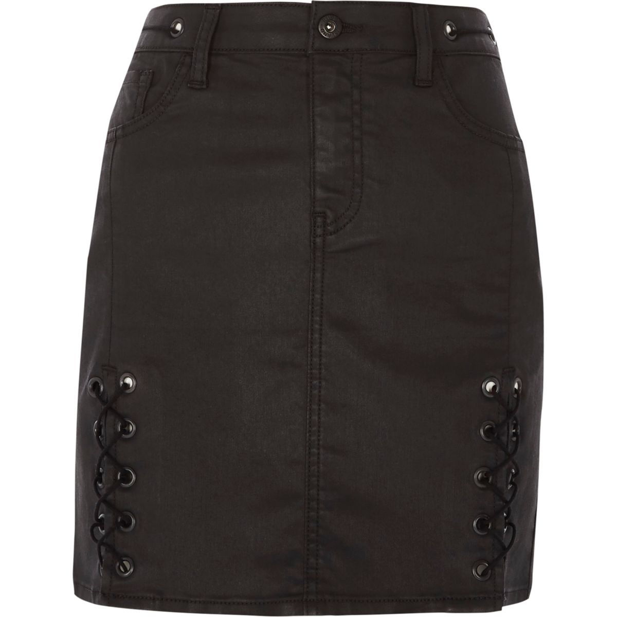Black coated lace-up mini skirt